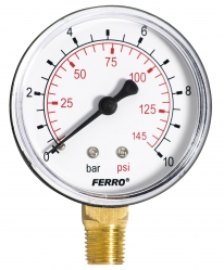 "Manometer 63mm 1/4"" spodný 0-10bar"