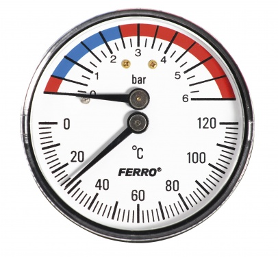 "Termo-manometer 63mm 1/2"" zadný 0-6bar/120°C"