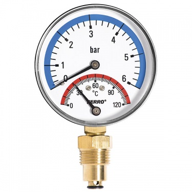 "Termo-manometer 80mm 1/2"" spodný 0-6bar/120°C"